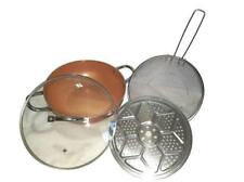 NEW 4 PIECE COPPER WOK SET 12 INCH NON STICK 6 IN 1 STEAM FRY ROAST OVEN SAFE