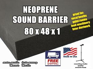 """Ultimate SOUND BARRIER 1"""" closed cell neoprene acoustic foam  weather resistant"""