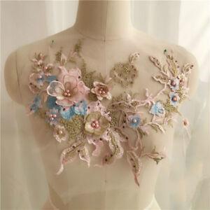 3D Bridal Lace Floral Applique Embroidery Beaded Motif Trim Wedding Dress Decor