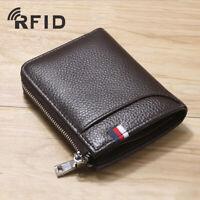 Genuine Leather Men's Zipper Wallet RFID Blocking ID Card Holder Money Black