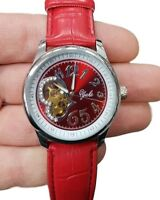 Orologio Polso Yaki Donna Automatico Fashion Moda Pelle Brillantini Rosso lac