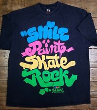 Vtg STUSSY T-Shirt Smile Paint Skate Rock XL Top Haze Black Tee 90's Colorblock