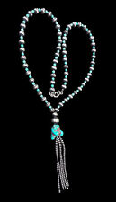 Sterling Silver and Turquoise Bead Tassel Necklace - Navajo Handmade