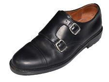 FLORSHEIM Double Monk Strap Mens Sz 8 Black Leather Loafers Cap Toe Shoes