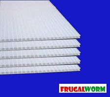 "6mm 24"" x 36"" White Coroplast Corrugated Plastic Sheets - 5 Pack (36"" Flutes)"
