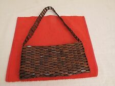 VTG MCM BEADED PURSE HAND BAG CLUTCH DIAMOND SHAPED WOOD BEADS/ PIECES