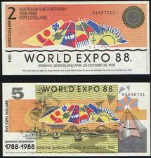 AUSTRALIA Queensland EXPO 88 -  2 und 5  Expo Dollar UNC