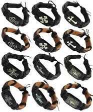 wd167 wholesale lots 12pcs cross adjustable black & brown leather bracelet charm
