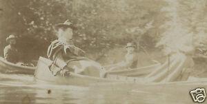 ANTIQUE AMERICAN GRIM REAPER WICKED WITCH CANOE RIVER LAKE UNUSUAL KODAK PHOTO