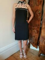 MOSCHINO COUTURE Vintage Black Dress with Unique Black & White Beaded Necklace
