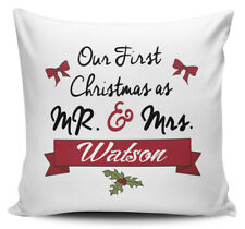 Personalised 'Our First Christmas As Mr & Mrs' Novelty Cushion Cover