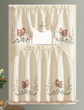 DISPLAY-DANCING BUTTERFLY 3pcs multi-color embroidery kitchen curtain BURGUNDY