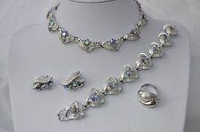 Vintage AB Cristal Estrás Pendiente Pulsera Collar Conjunto + anillo