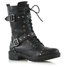 Womens Mid Calf Lace Up Biker Ladies Punk Military Combat Ankle Boots Shoes