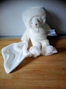 Doudou et compagnie Ours avec mouchoir blanc pois argentées trop mimi état neuf