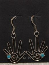 Native American Jewelry - Zuni - Earrings - Sterling/Turquoise - Helping Hands
