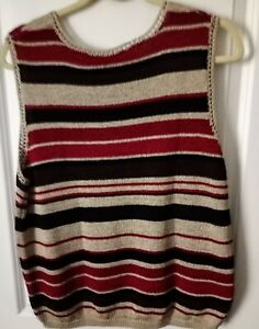NWT SLEEVELESS SWEATER KNIT TOP SX XL KATHIE LEE COLLECTION STRIPED