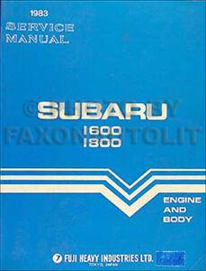 1983 Subaru Shop Manual 1600 1800 Brat GL DL Original OEM Repair Service Book