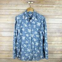KUT FROM THE KLOTH Women's Long Sleeve Button Front Shirt M Medium Blue Floral
