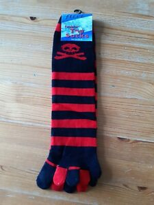 Red and black stripe toe socks with skull and cross bones detail one size