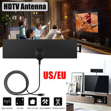 Flat Indoor HD Signal Amplifier Digital TV Antenna HDTV 50 Miles Range VHF UHF