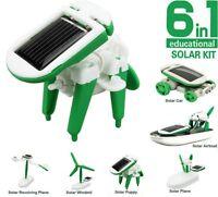 6 in 1 DIY Educational Learning Power Solar Robot Kit Children Kids Toys Hobbies