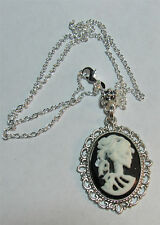 CAMEO SKULL LADY BLACK AND WHITE  NECKLACE ON 18 INCH STERLING CHAIN