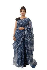 Women's Body Wrap Saree Indian Block Print Sari Traditional wear Indigo Blue