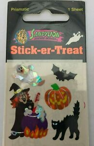 Vintage NOS Sandylion Prismatic Sticker Halloween Sticker Sheet Prism Witch Cat