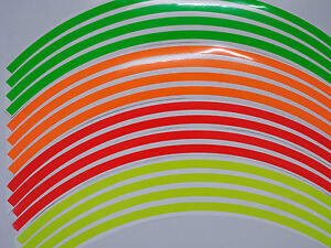 Fluorescent Dayglo Motorbike Car Wheel Rim Vinyl Decal Strips Tapes 8mm or 4mm