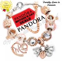 Authentic Pandora Bracelet Silver FAMILY LOVE with Rose Gold MOM European Charms