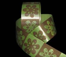 "5 Yards Green Brown Retro Flowers Mod Blocked Satin Ribbon 1 1/2""W"