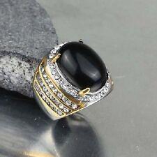 anillo hombre acero inoxidable color plata /oro cabujón piedra negro T.62
