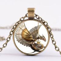 Retro-Steampunk-Drachen Foto Cabochon Glas Bronze Anhänger Halskette ddd