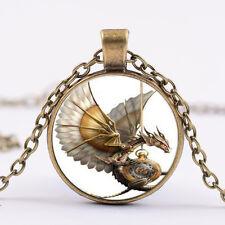 Retro-Steampunk-Drachen Foto Cabochon Glas Bronze Anhänger Halskette neue