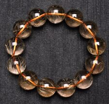17mm Natural Hair Rutilated Quartz Crystal Round Bead Bracelet