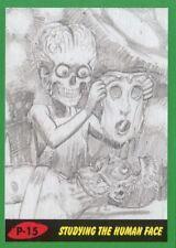 Mars Attacks The Revenge Green Pencil Art Base Card P-15 Studying the Human Face