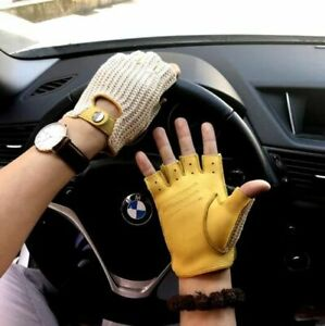 Men Goatskin Gloves Knitted Genuine Leather Winter Soft Unlined Driving Mittens