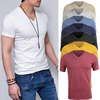 New Mens Slim Fit T Shirt Short Sleeve Muscle Gym V Neck Plain Cotton Top Lot