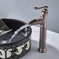 Antique Copper Bathroom Sink Faucet Waterfall Single Handle Countertop Lavatory