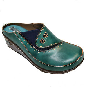 L'Artiste Teal Blue Leather Clog Slip On Platform Tuquoise Shoes Chino Sz 36