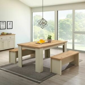 Cream Dining Table Furniture Set 150CM with 2 Benches Oak Top