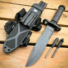 "12.5"" Fixed Blade Military Tactical Hunting Army Survival Knife w Fire Starter"