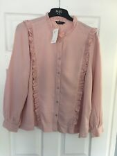 MARKS & SPENCER WOMENS PALE PINK FRILL TRIM TOP SHIRT BLOUSE, Size 18, Bnwt