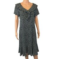 Elementz Sz L A-Line Dress Black & White Polka Dot Short Sleeve V-Neck & Belt