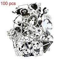 100pcs Cartoon Black White Graffiti Vinyl Sheet Wrap Decal Sticker Bomb