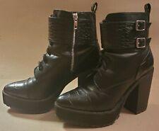 H &M Black faux alligator Platform High Heel Boots - Womens Size 8
