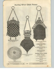 1900 PAPER AD Sterling Silver Chain Purse Hand Bag Mesh Alligator Leather