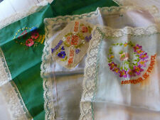 Antique Lot of 3 France War Time Souvenir Silk Hankies Handkerchiefs 1919