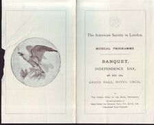 AMERICAN SOCIETY IN LONDON INDEPENDENCE DAY BANQUET 1903 LIST OF GUESTS ETC